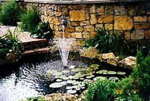 Декоративный пруд с фонтаном